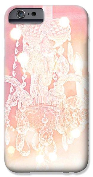 Paris Dreamy Ethereal Chandelier Art - Dreamy Pink Bokeh Sparkling Paris Chandelier Art Deco iPhone Case by Kathy Fornal
