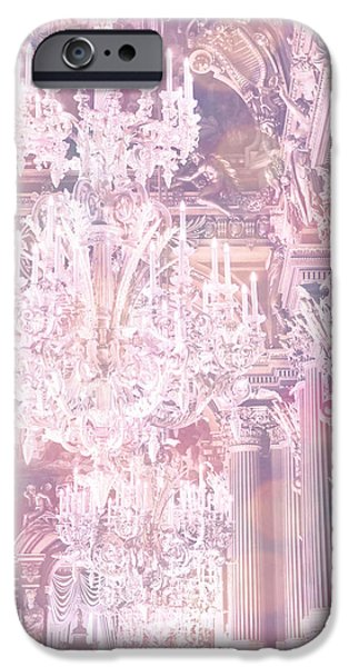 Paris Dreamy Ethereal Chandelier Opera House - Paris Lavender Pink Dreamy Chandelier Opera House iPhone Case by Kathy Fornal