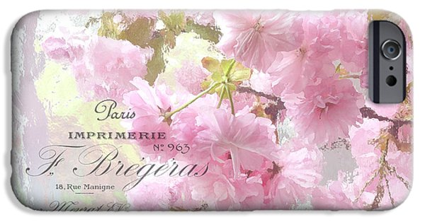 Floral Photographs iPhone Cases - Paris Dreamy Pink Blossoms Tree - Paris Cherry Blossoms With French Script Letter Writing iPhone Case by Kathy Fornal