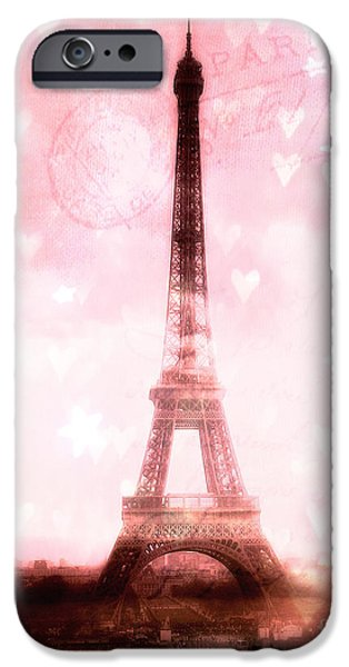 Girls In Pink iPhone Cases - Paris Dreamy Pink Eiffel Tower With Hearts and Stars - Paris Pink Eiffel Tower Romantic Pink Art iPhone Case by Kathy Fornal