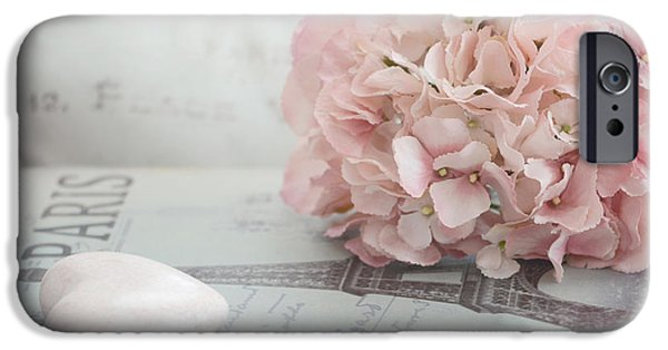 Floral Photographs iPhone Cases - Paris Dreamy Pink Hydrangeas and Pink Heart - Paris Romantic Cottage Chic Pastel Floral Art iPhone Case by Kathy Fornal