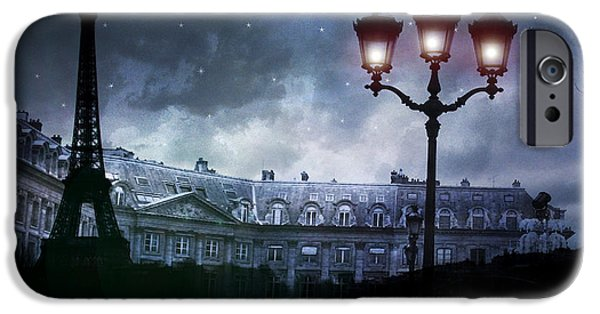 Night Lamp iPhone Cases - Paris Eiffel Tower Blue Starry Night Street Lamp Fantasy Photo Montage  iPhone Case by Kathy Fornal