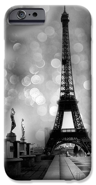 Paris iPhone Cases - Paris Eiffel Tower Surreal Black and White Photography - Eiffel Tower Bokeh Surreal Fantasy Night  iPhone Case by Kathy Fornal