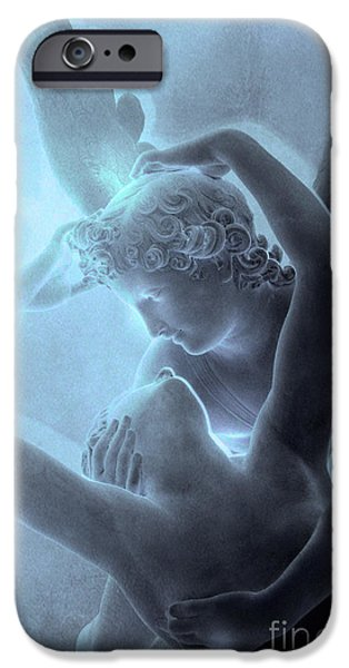 Cupid iPhone Cases - Paris Eros and Psyche - Louvre Sculpture - Paris Romantic Angel Art Photography iPhone Case by Kathy Fornal