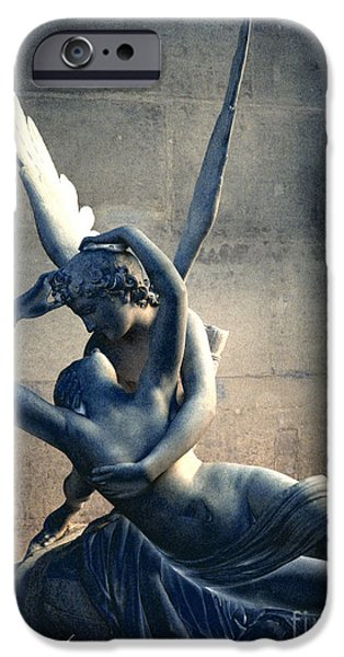 Cupid iPhone Cases - Paris Eros and Psyche Romantic Lovers - Paris In Love Eros and Psyche Louve Sculpture  iPhone Case by Kathy Fornal