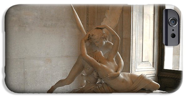 Cupid iPhone Cases - Paris Eros Psyche Sculpture - Eros and Psyche Romantic Lovers Monument at Louvre iPhone Case by Kathy Fornal