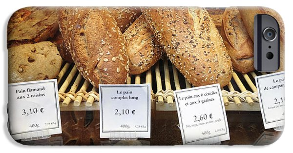 Food Paining iPhone Cases - Paris Food Photography - Paris Au Pain Bakery Patisserie - French Bread iPhone Case by Kathy Fornal