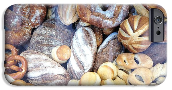 Food Paining iPhone Cases - Paris Food Photography - Paris Au Pain - French Breads and Pretzels iPhone Case by Kathy Fornal