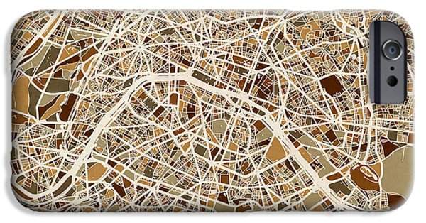Street Maps iPhone Cases - Paris France Street Map iPhone Case by Michael Tompsett