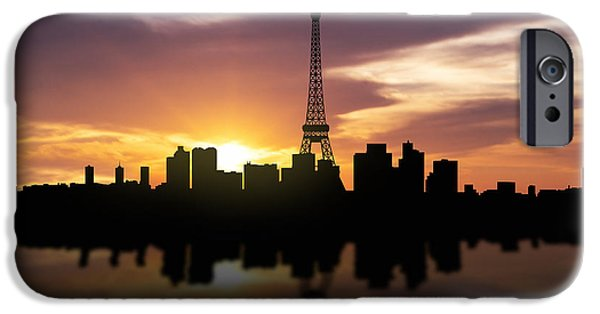 Skyscraper Mixed Media iPhone Cases - Paris France Sunset Skyline  iPhone Case by Aged Pixel