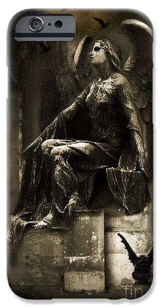 Dark Angels iPhone Cases - Surreal Paris Gothic Angel Gargoyle Ravens Fantasy Art iPhone Case by Kathy Fornal