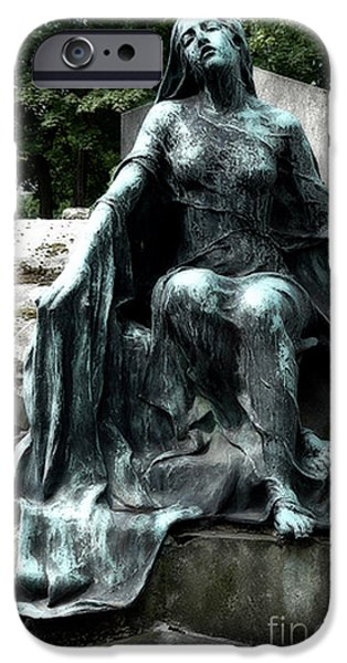 Haunting iPhone Cases - Paris Gothic Female Mourner - Montmartre Cemetery Female Sculpture - Mother Looking Over Son iPhone Case by Kathy Fornal