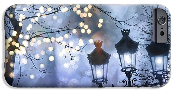 Night Lamp iPhone Cases - Paris Holiday Magical Sparkling Twinkling Lights - Paris Sparkling Street Lanterns iPhone Case by Kathy Fornal