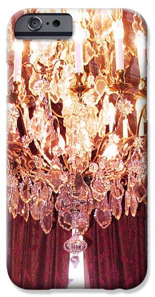 Paris Hotel Regina Pink Mauve Crystal Chandelier Hotel Entrance Lobby Chandelier Art Deco iPhone Case by Kathy Fornal