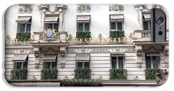 Balcony iPhone Cases - Paris Hotel Westminister WIndows and Balconies - Paris Hotel Architecture and Cartier Shop iPhone Case by Kathy Fornal