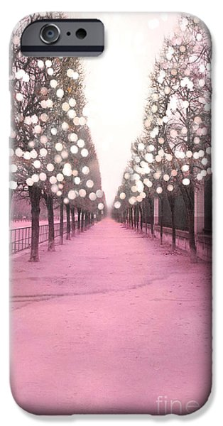 Nature Scene iPhone Cases - Paris Tuileries Trees Pink Twinkling Fairy Lights Trees- Jardin des Tuileries Park and Garden iPhone Case by Kathy Fornal