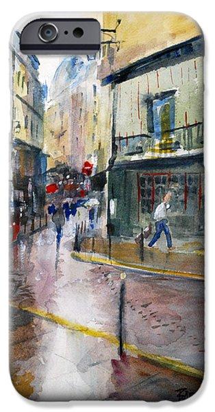 Rainy Day iPhone Cases - Paris Latin Quarter iPhone Case by Duane Barnhart