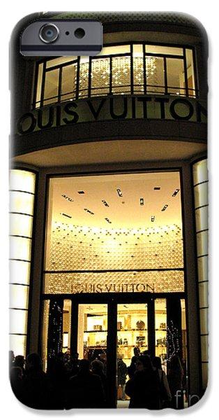 Art Nouveau iPhone Cases - Paris Louis Vuitton Boutique Store Front - Paris Night Photo Louis Vuitton - Champs Elysees  iPhone Case by Kathy Fornal