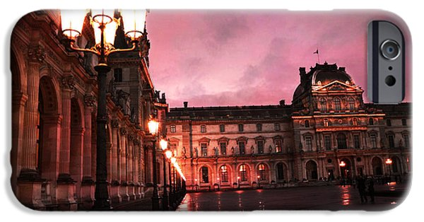 Night Lamp iPhone Cases - Paris Louvre Museum Night Architecture Street Lamps - Paris Louvre Museum Lanterns Night Lights iPhone Case by Kathy Fornal