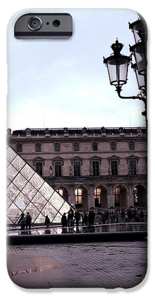 Night Lamp iPhone Cases - Paris Louvre Museum Pyramid - Paris at Dusk Evening - Paris Street Lamps Lanterns at Louvre iPhone Case by Kathy Fornal
