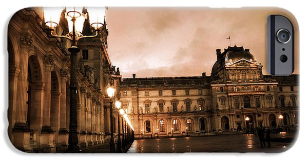 Night Lamp iPhone Cases - Paris Louvre Museum Sepia Night Lights Street Lamps - Paris Sepia Louvre Museum Night Photography iPhone Case by Kathy Fornal
