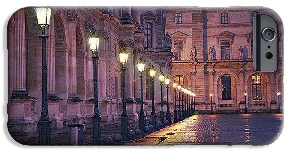 Night Lamp iPhone Cases - Paris Louvre Museum Street Lanterns Night Landscape - Louvre Museum Architecture Rainy Night Lights  iPhone Case by Kathy Fornal