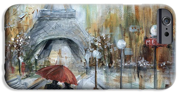 Red Umbrella iPhone Cases - Paris lovers I iPhone Case by Marilyn Dunlap