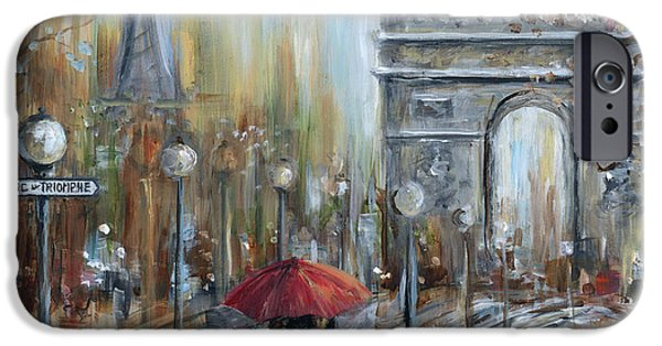 Paris Paintings iPhone Cases - Paris Lovers II iPhone Case by Marilyn Dunlap