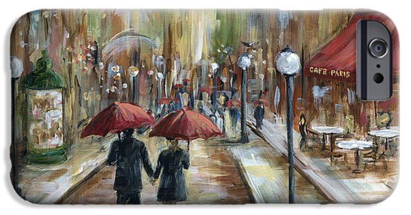 Umbrella iPhone Cases - Paris Lovers Ill iPhone Case by Marilyn Dunlap
