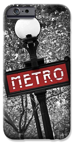 Sign iPhone Cases - Paris metro iPhone Case by Elena Elisseeva
