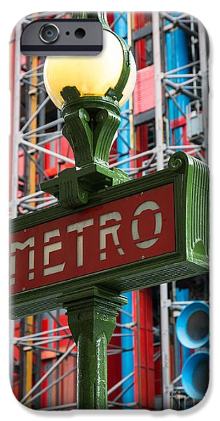 Centre iPhone Cases - Paris Metro iPhone Case by Inge Johnsson