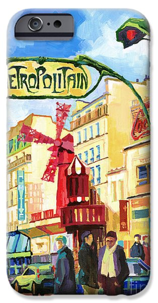 Buildings iPhone Cases - Paris Metropolitain Blanche Moulin Rouge  iPhone Case by Yuriy  Shevchuk