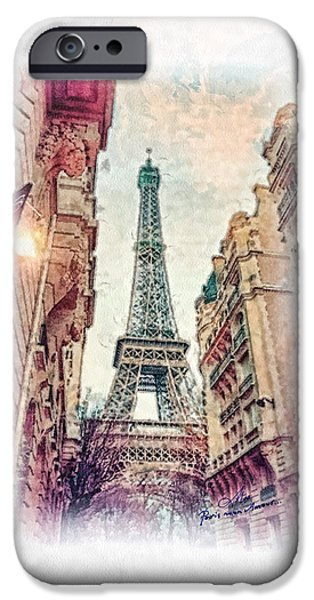 Mo T iPhone Cases - Paris mon Amour iPhone Case by Mo T
