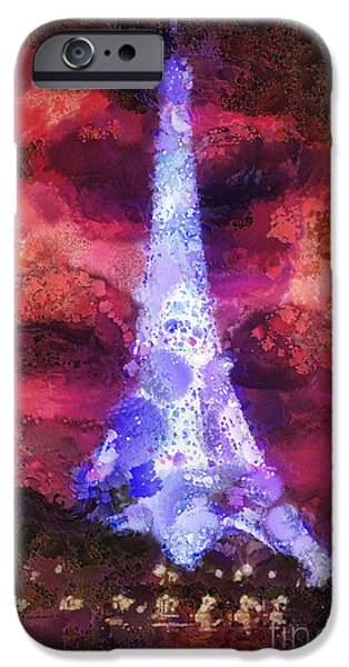 Moody Paintings iPhone Cases - Paris Night iPhone Case by Mo T