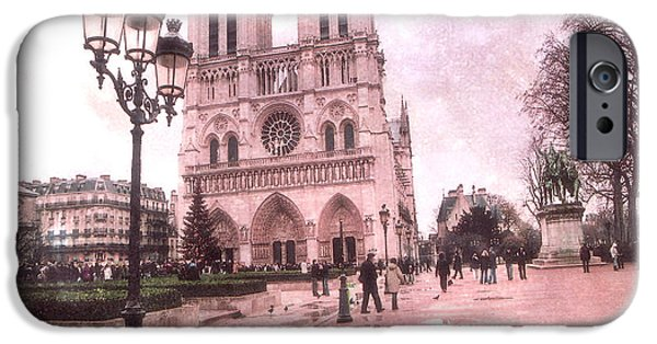 Notre Dame Cathedral iPhone Cases - Paris Notre Dame Cathedral Courtyard - Notre Dame Courtyard Dreamy Pink  iPhone Case by Kathy Fornal