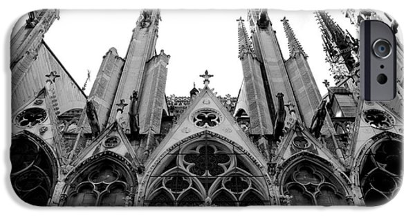 Notre Dame Cathedral iPhone Cases - Paris Notre Dame Cathedral Gothic Black and White Gargoyles and Architecture iPhone Case by Kathy Fornal