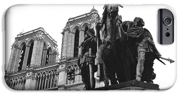 Notre Dame Cathedral iPhone Cases - Paris Notre Dame Cathedral Monument - Charlemagne Horses Statue at Notre Dame Cathedral  iPhone Case by Kathy Fornal