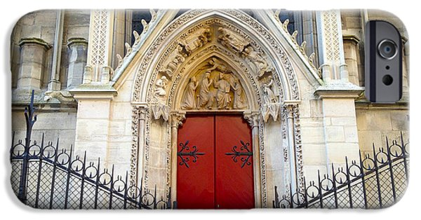 Notre Dame Cathedral iPhone Cases - Paris Notre Dame Cathedral Red Ornate Door - Notre Dame Cathedral Door Window Gate Architecture iPhone Case by Kathy Fornal