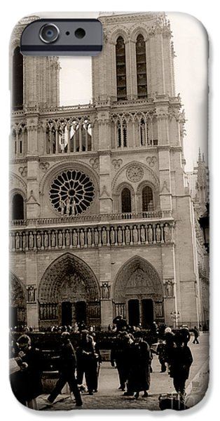 Notre Dame Cathedral iPhone Cases - Paris Notre Dame Cathedral Sepia - Paris Vintage Sepia Notre Dame Cathedral Street Photography iPhone Case by Kathy Fornal