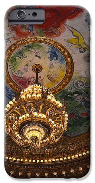 Paris Opera des Garnier Ornate Ceiling Architecture and Opera House Chandelier Ceiling iPhone Case by Kathy Fornal