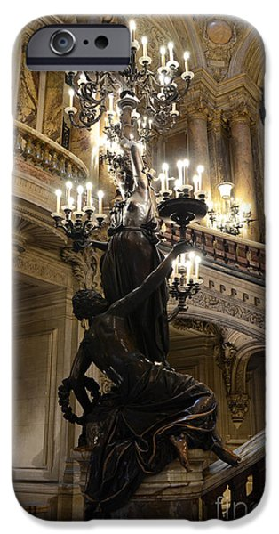 Paris Opera House Grand Staircase and Chandeliers - Paris Opera Garnier Statues and Architecture  iPhone Case by Kathy Fornal