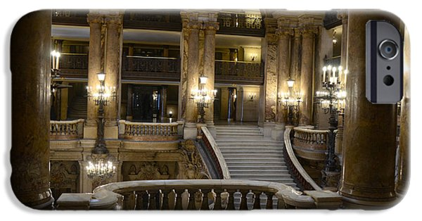 Balcony iPhone Cases - Paris Opera House Interior Romantic Staircase Balconies and Architecture  iPhone Case by Kathy Fornal