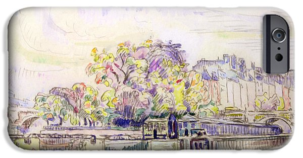 River Drawings iPhone Cases - Paris iPhone Case by Paul Signac