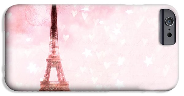 Girls In Pink iPhone Cases - Paris Pink Eiffel Tower With Hearts and Stars - Paris Romantic Dreamy Pink Photographs iPhone Case by Kathy Fornal
