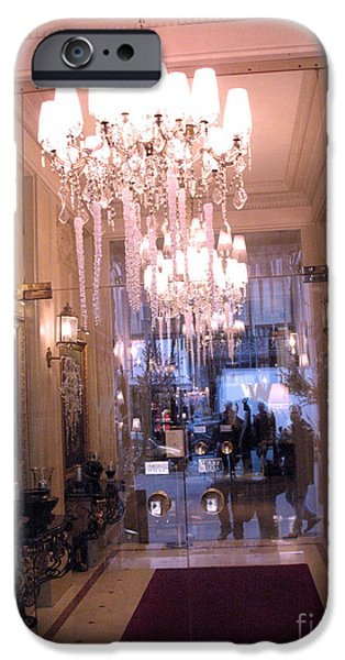 Paris Pink Hotel Lobby Interiors Pink Posh Hotel Interior Arch and Chandelier Hallway iPhone Case by Kathy Fornal
