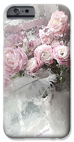 Floral Digital Art Digital Art iPhone Cases - Paris Pink Impressionistic French Roses and Ranunculus - Shabby Chic Romantic Pink Flowers iPhone Case by Kathy Fornal