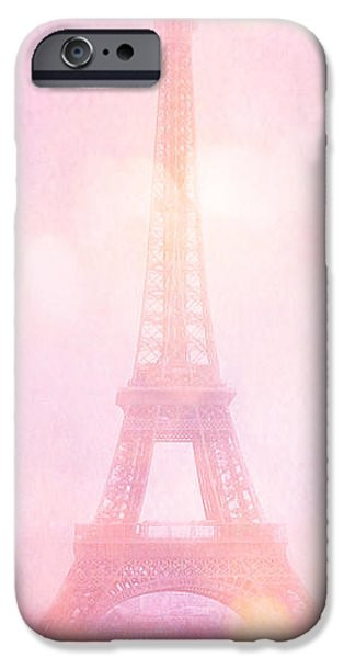 Hot Air Balloon iPhone Cases - Paris Dreamy Pink Eiffel Tower With Pink Hot Air Balloon - Paris and Balloons iPhone Case by Kathy Fornal