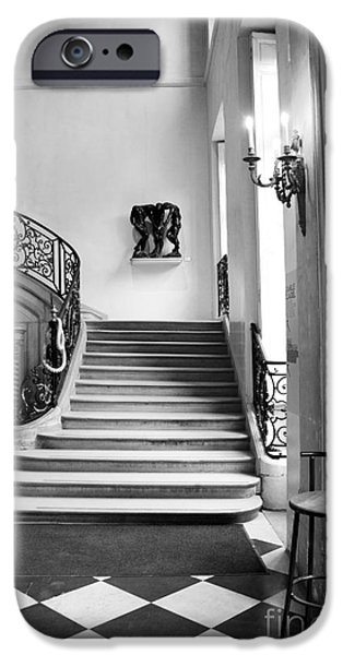 Flooring iPhone Cases - Paris Rodin Museum Black and White Fine Art Architecture - Rodin Museum Entry Staircase iPhone Case by Kathy Fornal