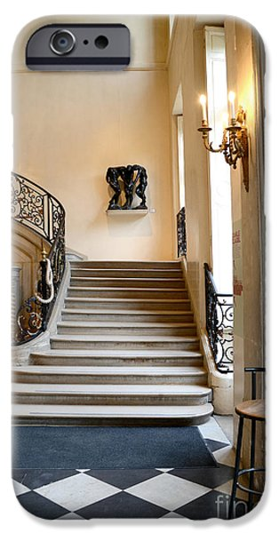 Flooring iPhone Cases - Paris Rodin Museum Entry Staircase and Architecture iPhone Case by Kathy Fornal