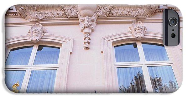 Balcony iPhone Cases - Paris Romantic Windows Balcony Architecture - Paris Art Nouveau Pink Black Ornate Window Balcony Art iPhone Case by Kathy Fornal